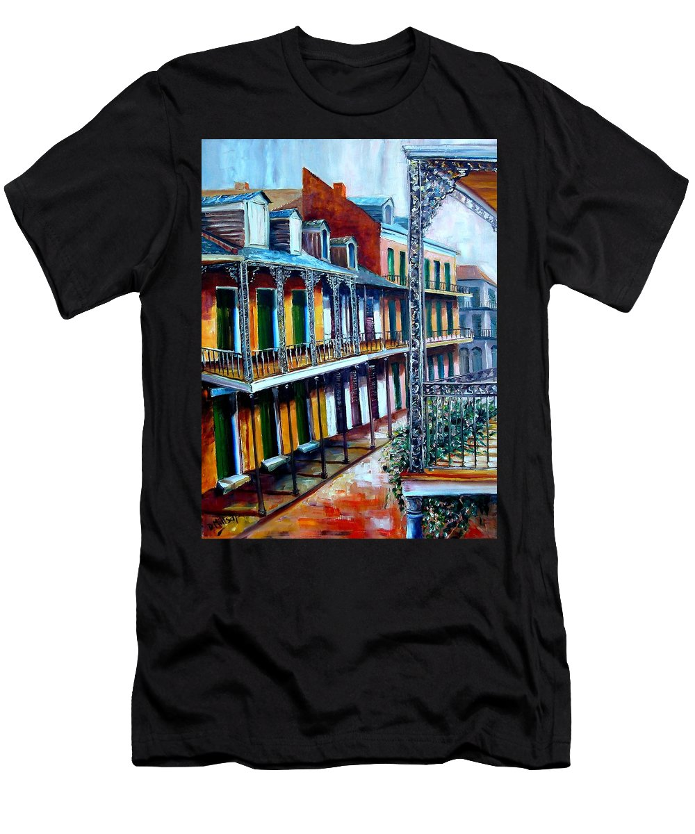 New Orleans Men's T-Shirt (Athletic Fit) featuring the painting Daybreak On St. Ann Street by Diane Millsap