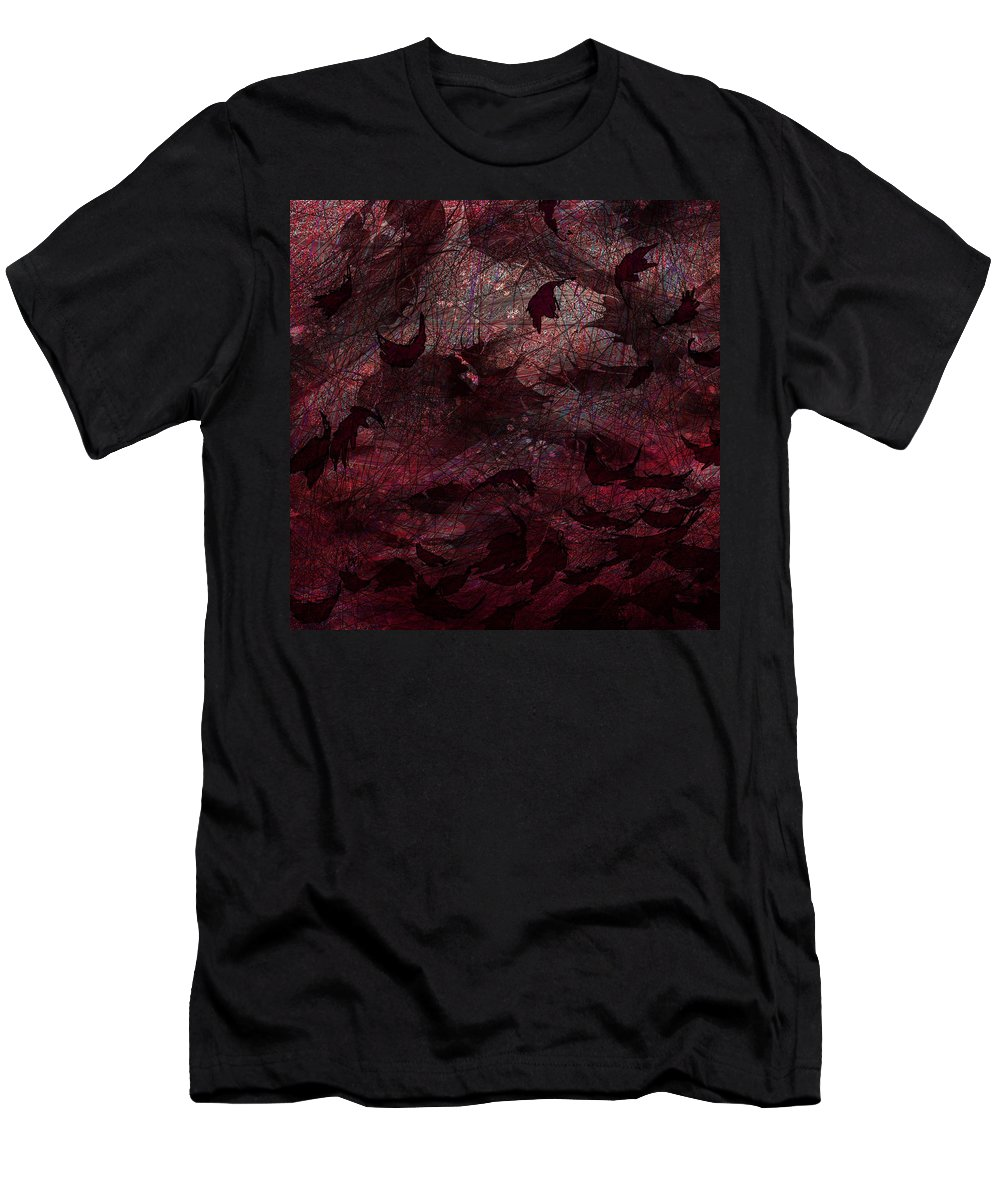 Abstract Men's T-Shirt (Athletic Fit) featuring the digital art Dead Leaves by Rachel Christine Nowicki