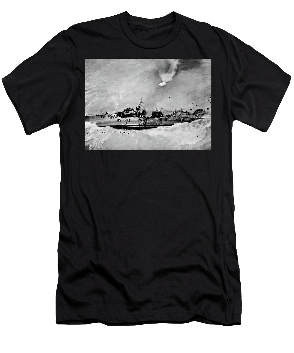 Ww Ii Men's T-Shirt (Athletic Fit) featuring the photograph Dead Men Swimming by Steve Harrington