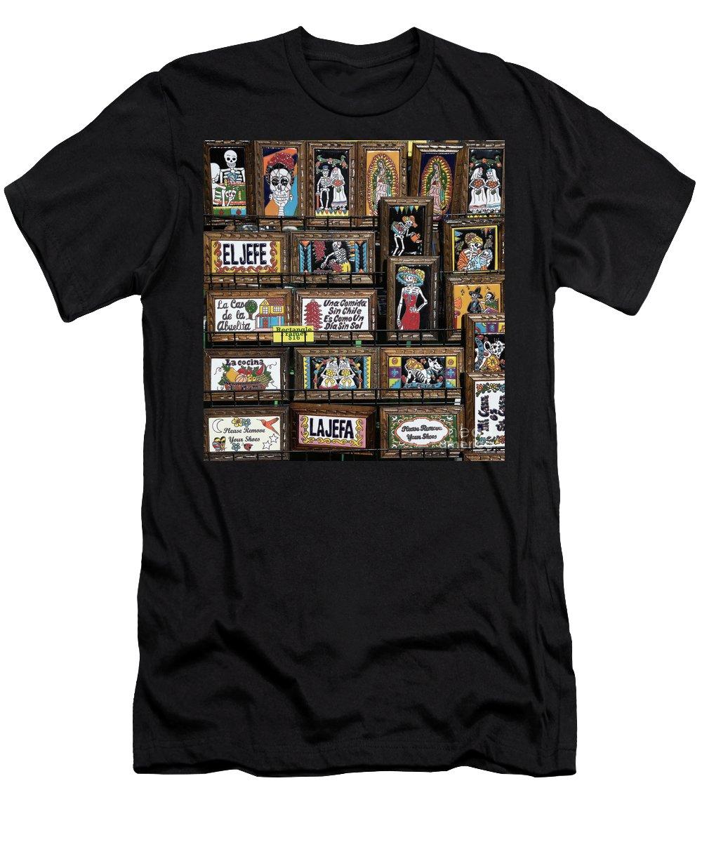 Dia De Los Muertos Men's T-Shirt (Athletic Fit) featuring the photograph Dead Plaques by Chuck Kuhn