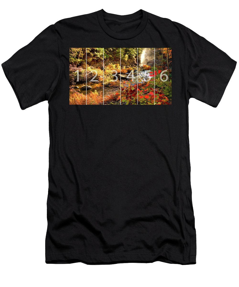 Dead River Falls Men's T-Shirt (Athletic Fit) featuring the mixed media Dead River Falls Marquette Michigan Panoramic Map by Michael Bessler