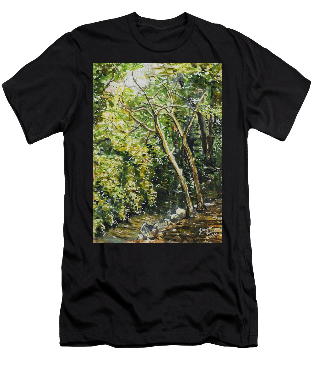 Landscape Men's T-Shirt (Athletic Fit) featuring the painting Dead Trees by Laura Ross