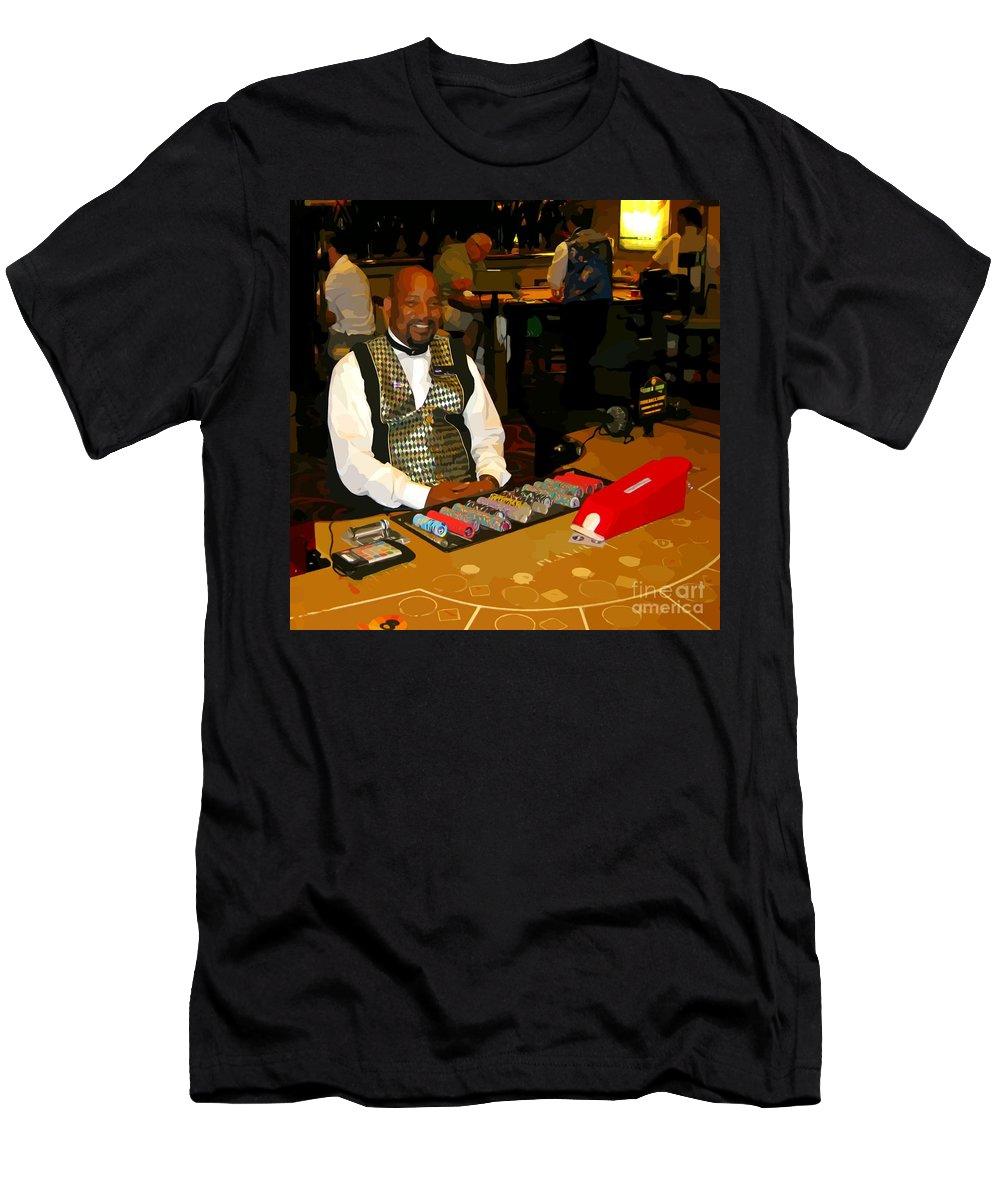 Dealer In Las Vegas Casino Men's T-Shirt (Athletic Fit) featuring the photograph Dealer In Las Vegas Casino by John Malone