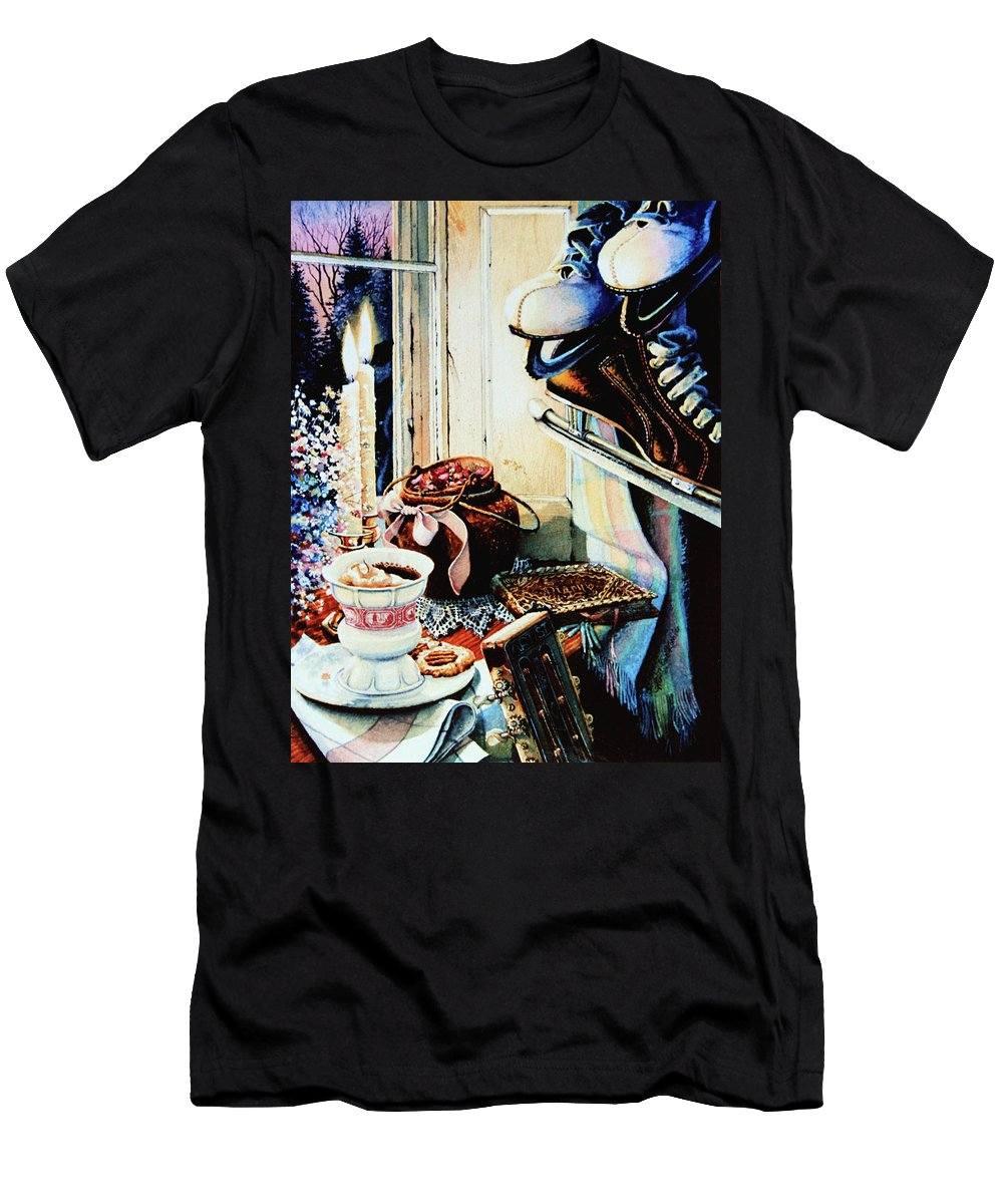 Figure Skates Men's T-Shirt (Athletic Fit) featuring the painting Dear Diary by Hanne Lore Koehler