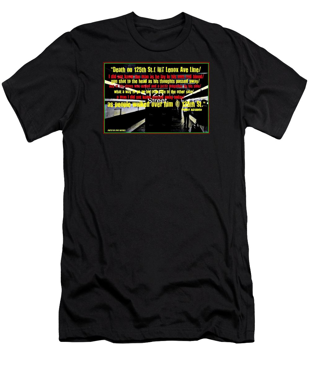 Men's T-Shirt (Athletic Fit) featuring the digital art Death On 125th St. Irt Lenox Ave Line by Tony Adamo