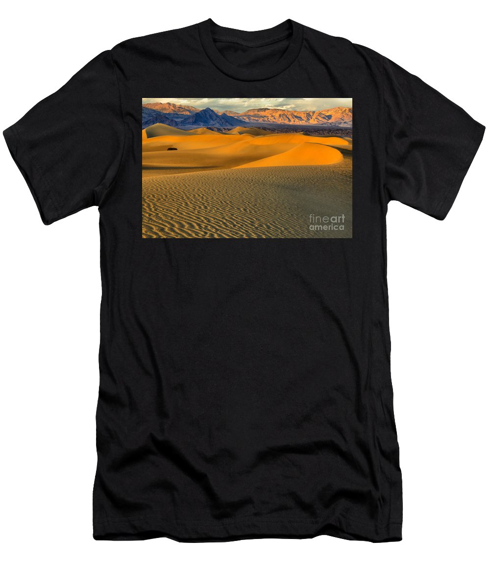Death Valley Sand Dunes Men's T-Shirt (Athletic Fit) featuring the photograph Death Valley Golden Hour by Adam Jewell