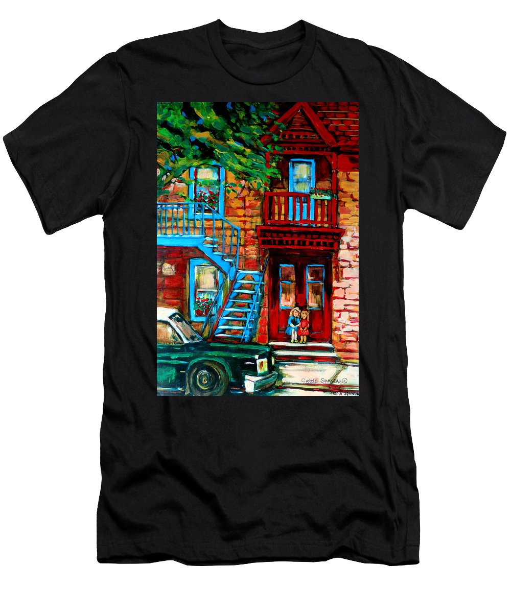 Montreal Streetscenes Men's T-Shirt (Athletic Fit) featuring the painting Debullion Street Neighbors by Carole Spandau