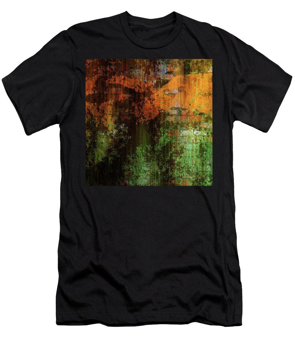 Urban Brick Green Orange Men's T-Shirt (Athletic Fit) featuring the mixed media Decadent Urban Brick Green Orange Grunge Abstract by Georgiana Romanovna