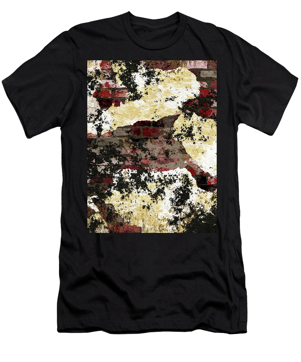 Decadent Urban Red Bricks Painted Men's T-Shirt (Athletic Fit) featuring the mixed media Decadent Urban Red Bricks Painted Grunge Abstract by Georgiana Romanovna