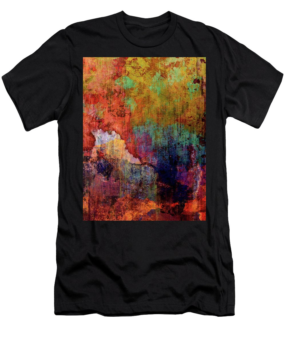 Colorful Abstract Men's T-Shirt (Athletic Fit) featuring the mixed media Decadent Urban Red Wall Grunge Abstract by Georgiana Romanovna