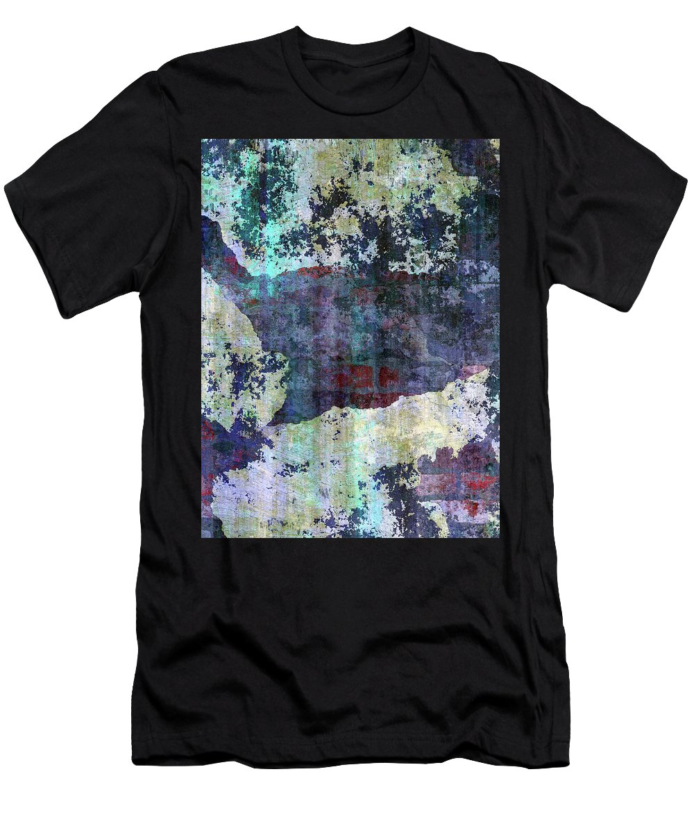 Decadent Urban White Splashed Men's T-Shirt (Athletic Fit) featuring the mixed media Decadent Urban White Splashed Bricks Grunge Abstract by Georgiana Romanovna