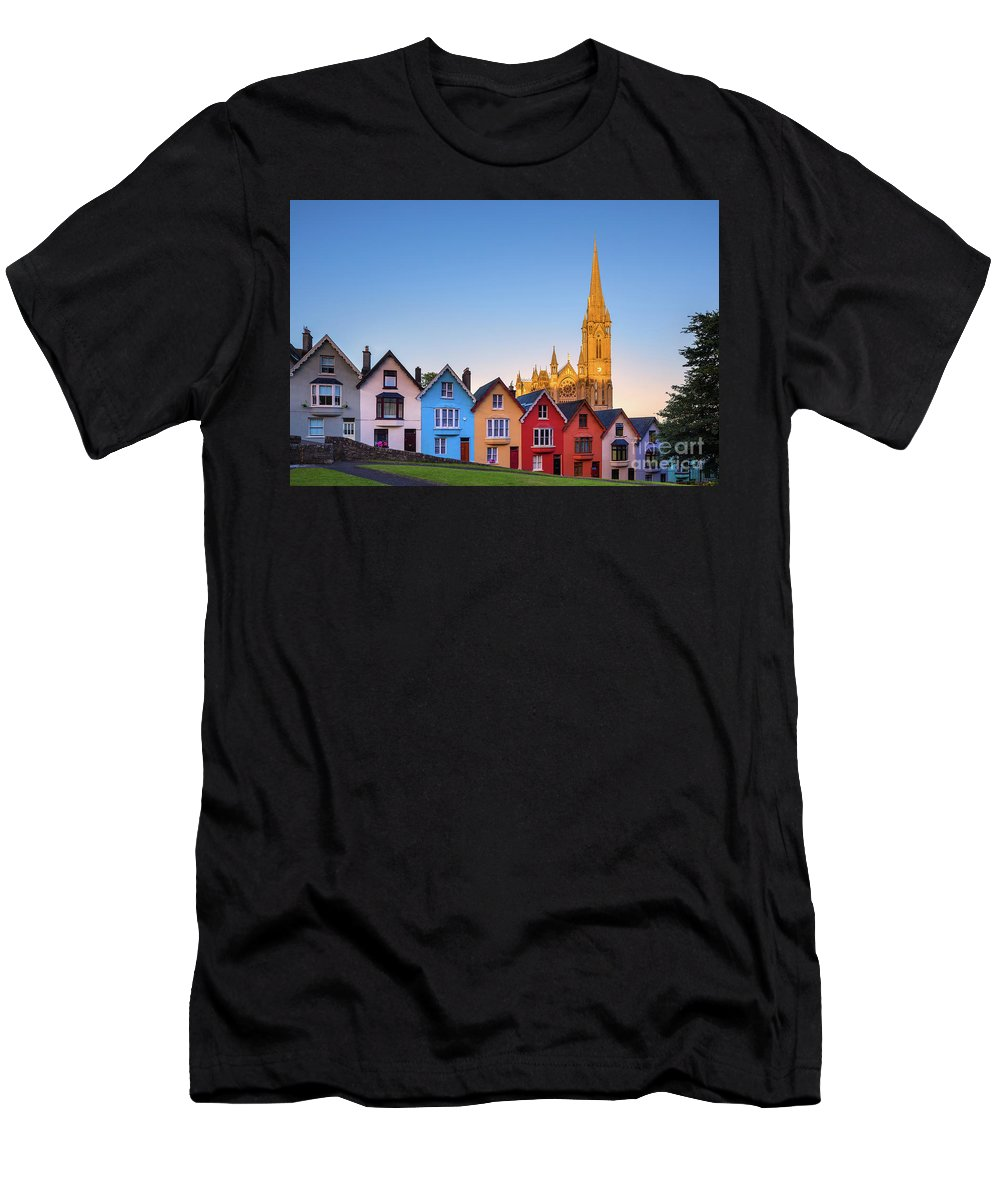 Ireland Men's T-Shirt (Athletic Fit) featuring the photograph Deck Of Cards And St Colman's Cathedral, Cobh, Ireland by Henk Meijer Photography