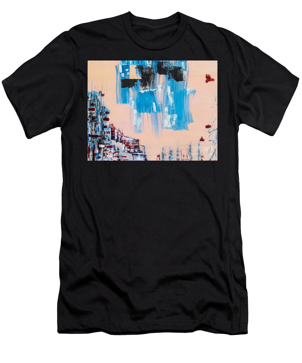 Modern Art Men's T-Shirt (Athletic Fit) featuring the painting Wall District I by Isaiah Moore