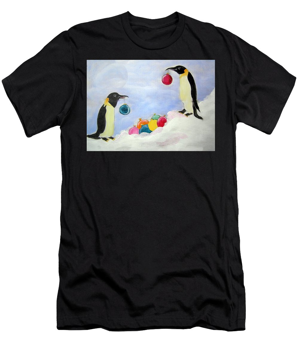 Penguins Men's T-Shirt (Athletic Fit) featuring the painting Christmas Penguins by Patricia Piffath