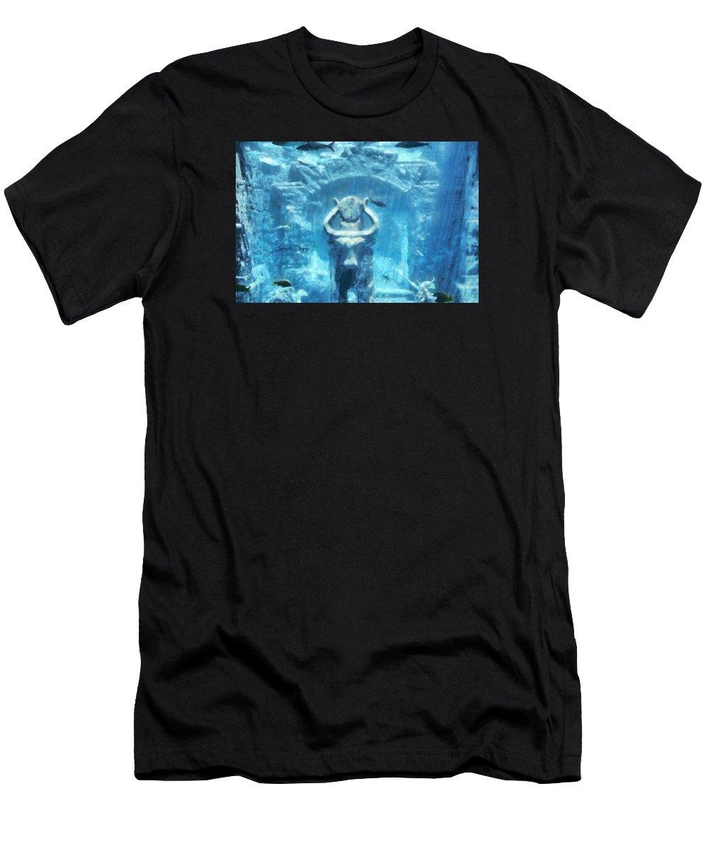 Action-adventure Men's T-Shirt (Athletic Fit) featuring the painting Deep Atlantis by Leonardo Digenio