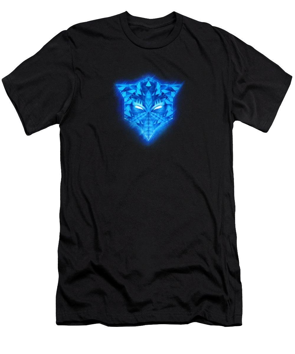Colorful Men's T-Shirt (Athletic Fit) featuring the digital art Deep Blue Collosal Low Poly Triangle Pattern Modern Abstract Cubism Design by Philipp Rietz