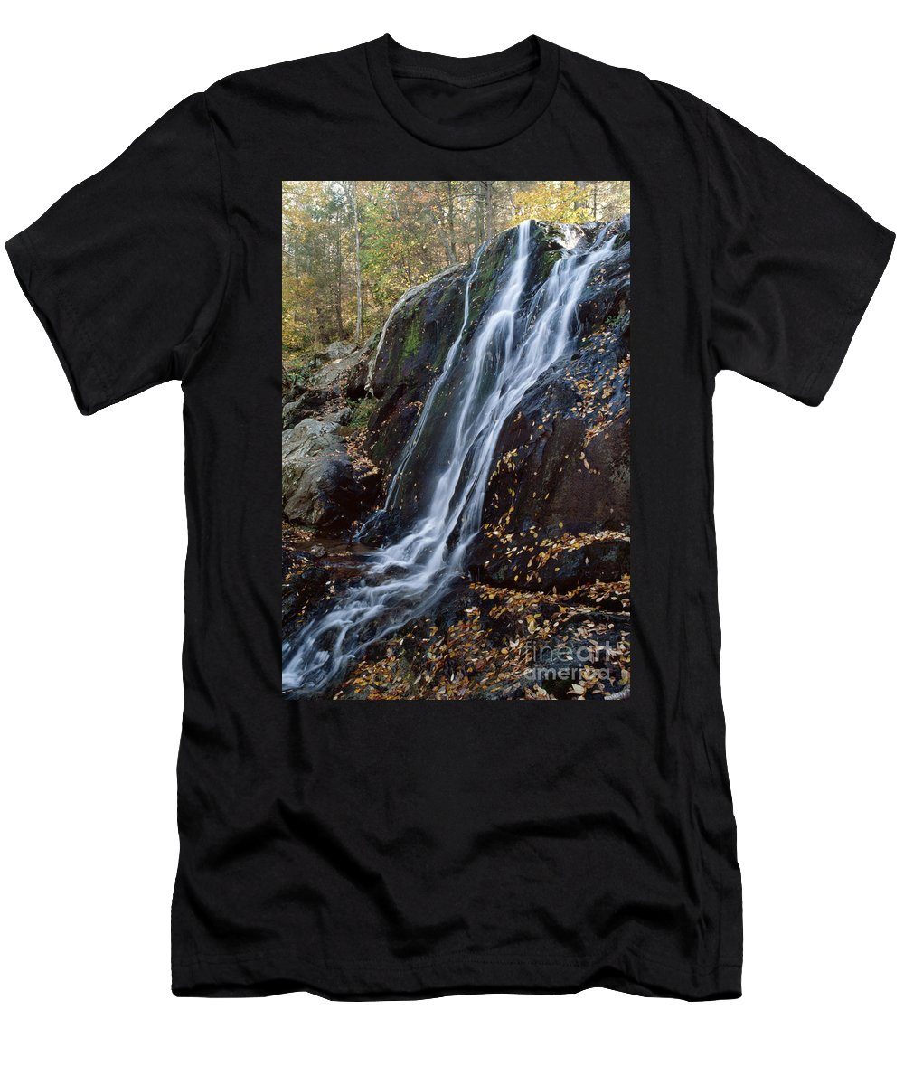 Deep Hallow Falls Men's T-Shirt (Athletic Fit) featuring the photograph Deep Hallow Falls Virginia by Ray Manning
