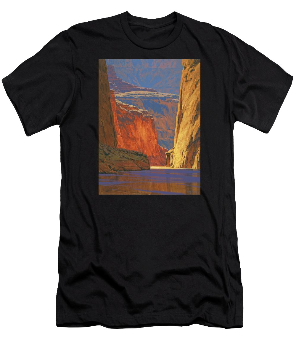 Grand Canyon Men's T-Shirt (Athletic Fit) featuring the painting Deep In The Canyon by Cody DeLong
