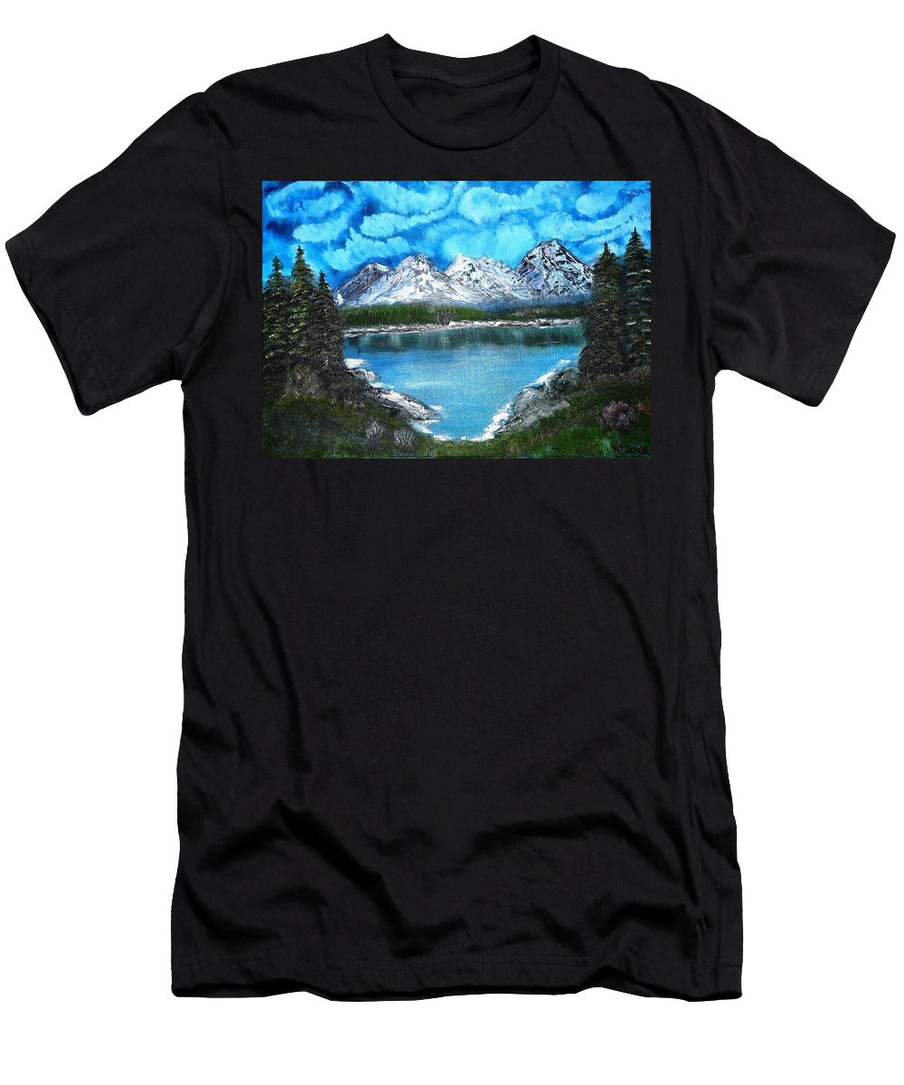 Landscape Men's T-Shirt (Athletic Fit) featuring the painting Deep Mountain Lake by Valerie Ornstein