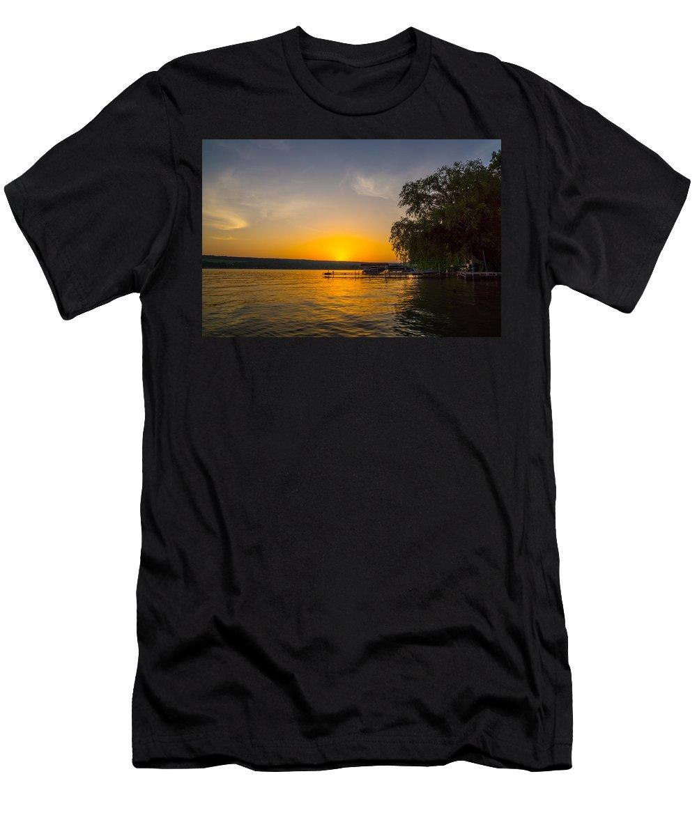 Keuka Lake Men's T-Shirt (Athletic Fit) featuring the photograph Deep Orange Sunset Over Keuka Lake by Photographic Arts And Design Studio