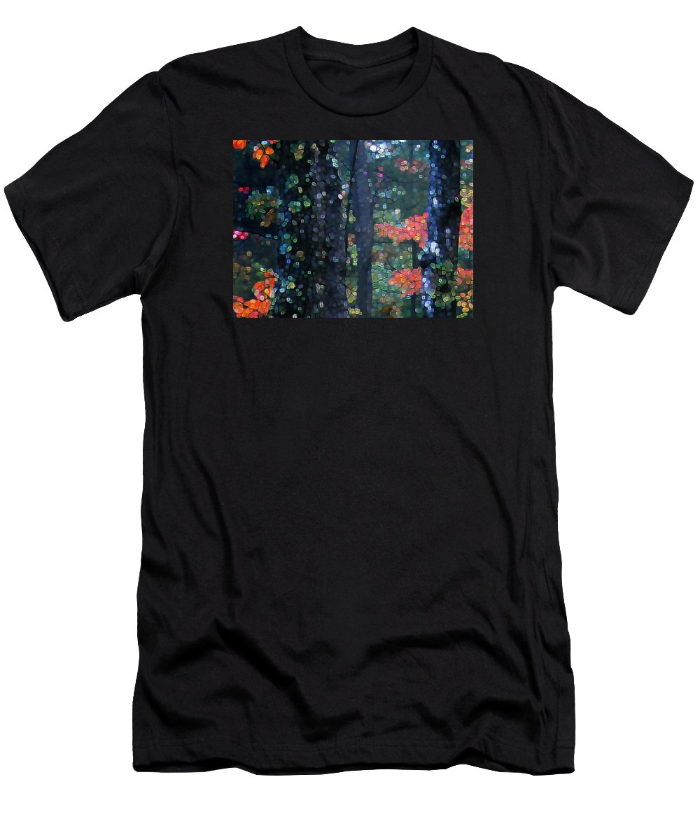 Landscape Men's T-Shirt (Athletic Fit) featuring the digital art Deep Woods Mystery by Dave Martsolf