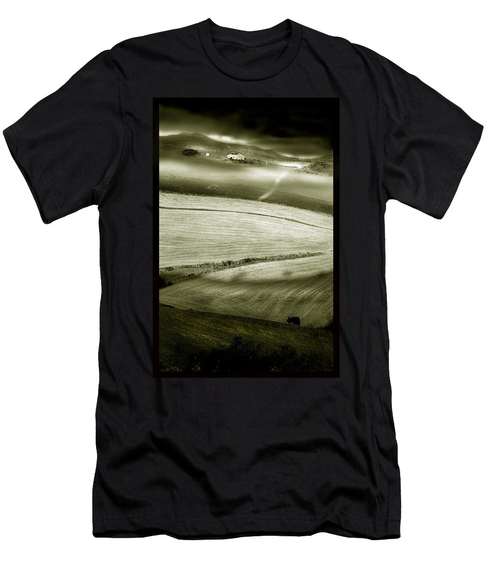 Landscape Men's T-Shirt (Athletic Fit) featuring the photograph Deepening Shadows by Mal Bray