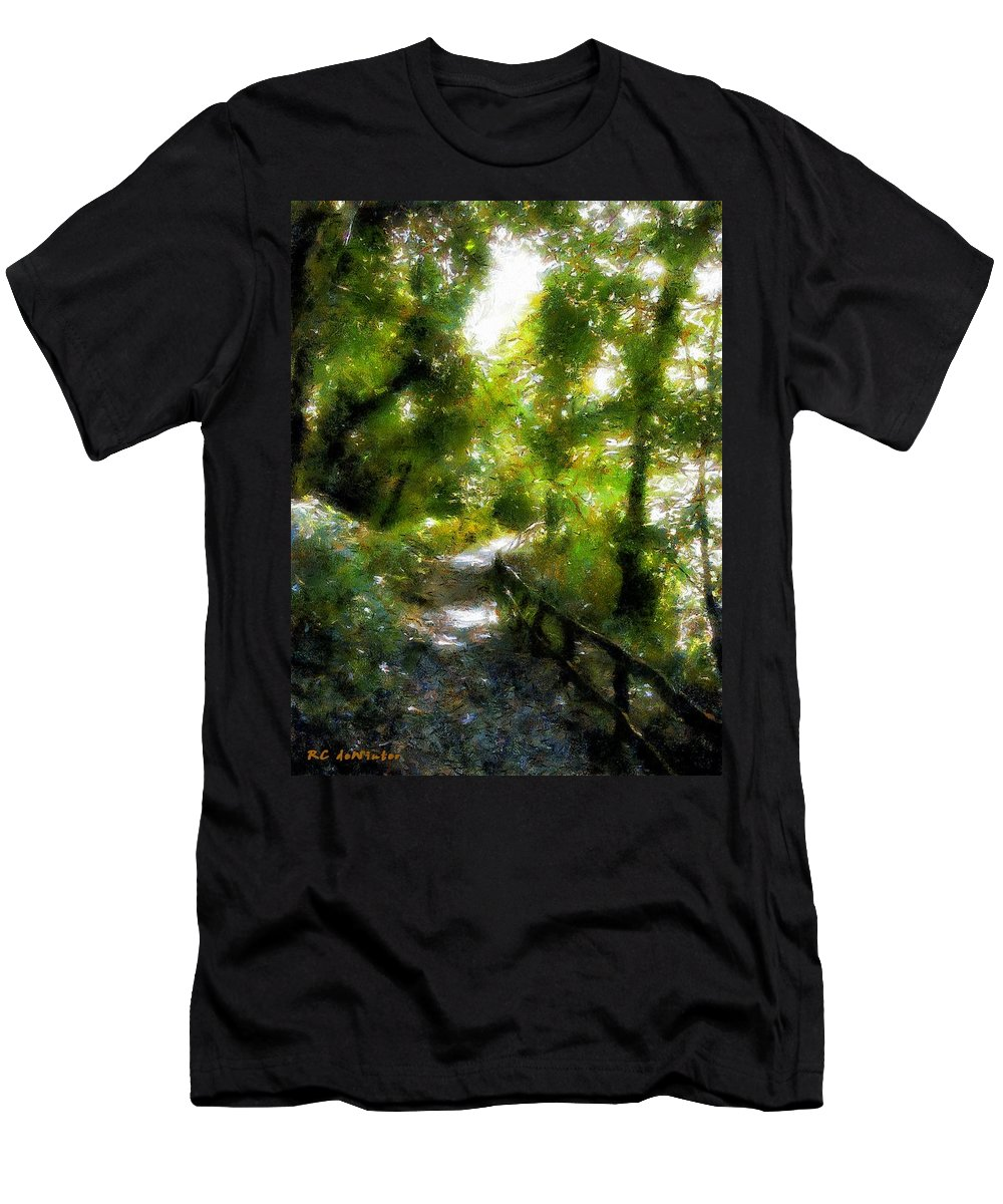 Fence Men's T-Shirt (Athletic Fit) featuring the painting Deeper Into The Greenwood by RC DeWinter
