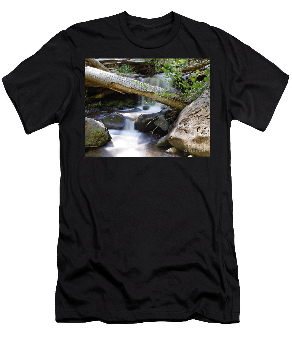 Creek Men's T-Shirt (Athletic Fit) featuring the photograph Deer Creek 03 by Peter Piatt