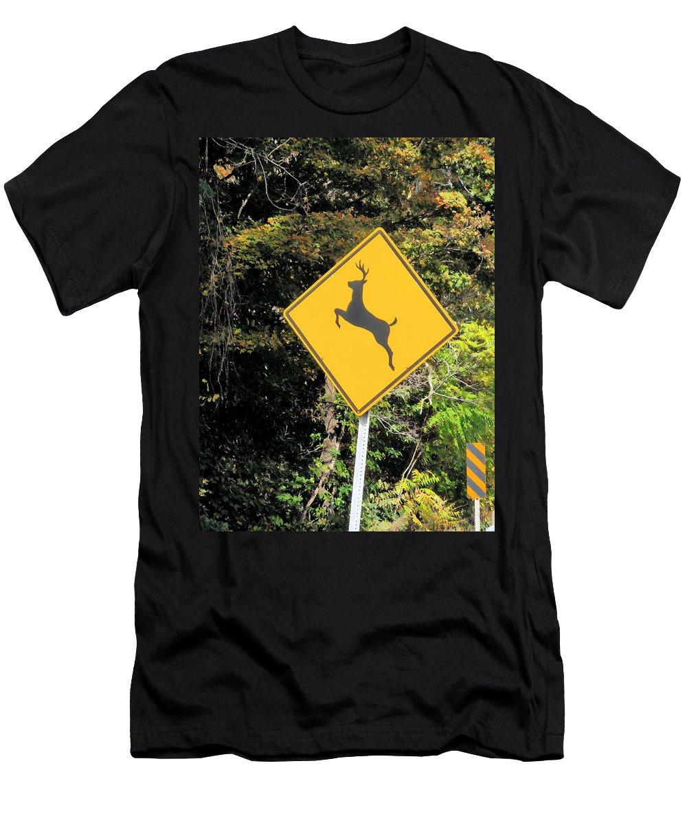 Deer Crossing Sign Men's T-Shirt (Athletic Fit) featuring the painting Deer Crossing Sign 2 by Jeelan Clark