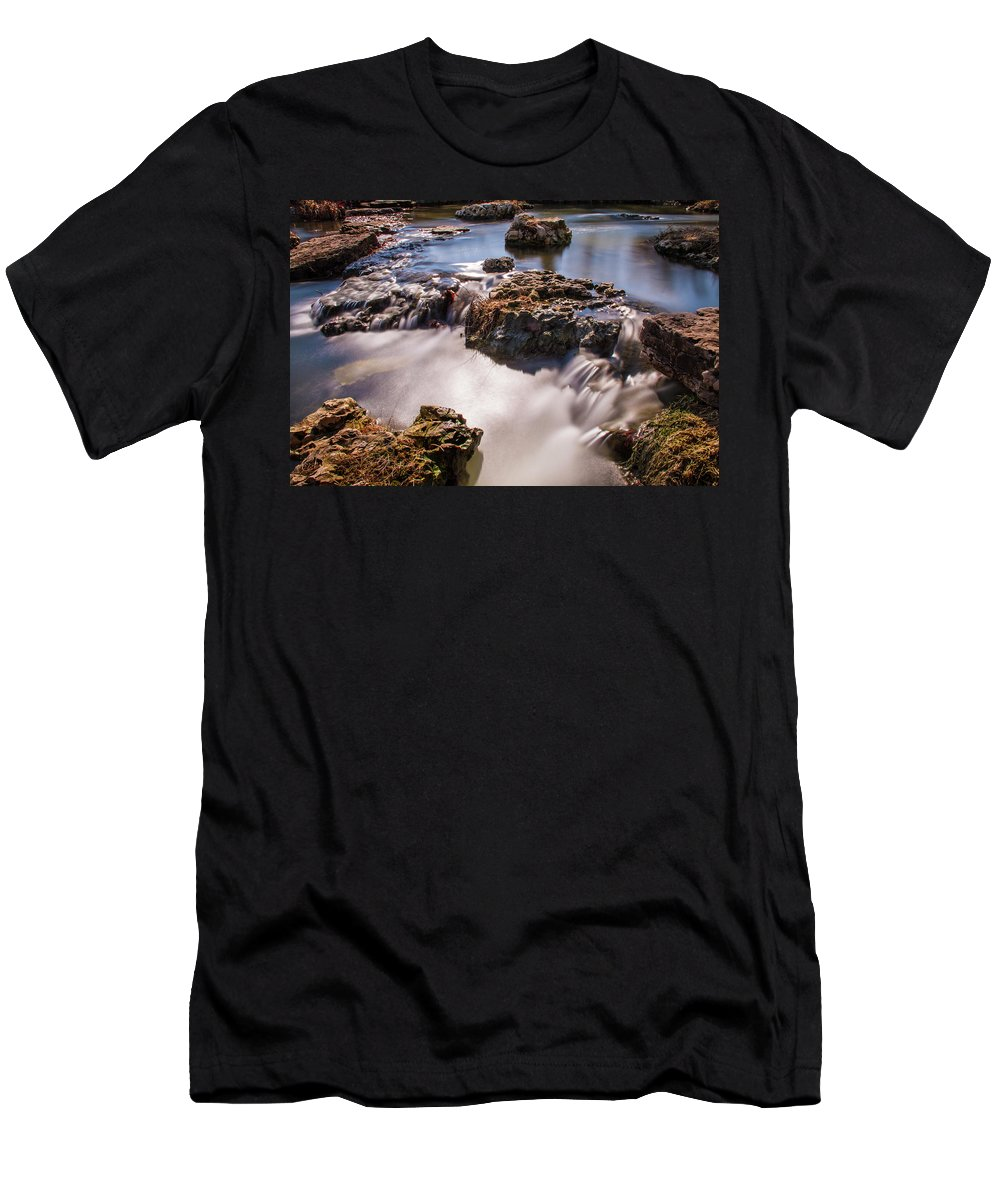 Forest Park Men's T-Shirt (Athletic Fit) featuring the photograph Deer Lake Riffles In Forest Park, St Louis, Missouri by Garry McMichael