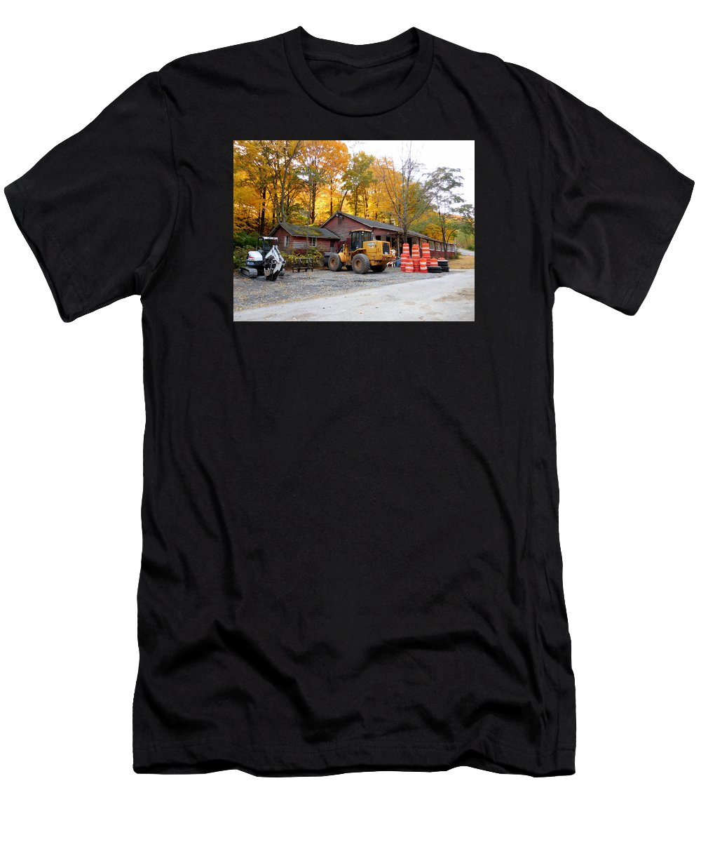 Deer Tractor Men's T-Shirt (Athletic Fit) featuring the painting Deer Tractor by Jeelan Clark