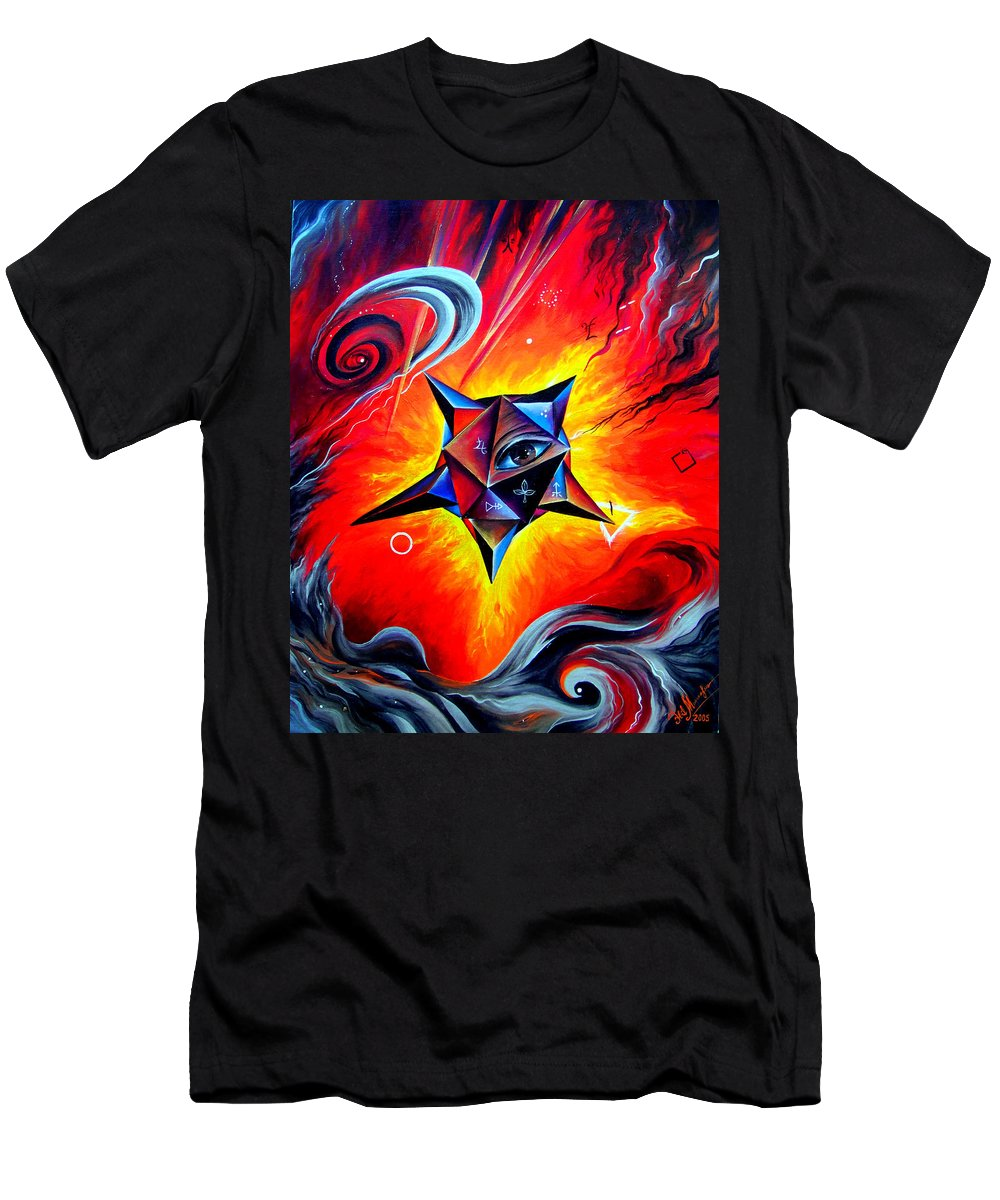 Defender Men's T-Shirt (Athletic Fit) featuring the painting Defender Of The Way To Nirvana by Sofia Metal Queen