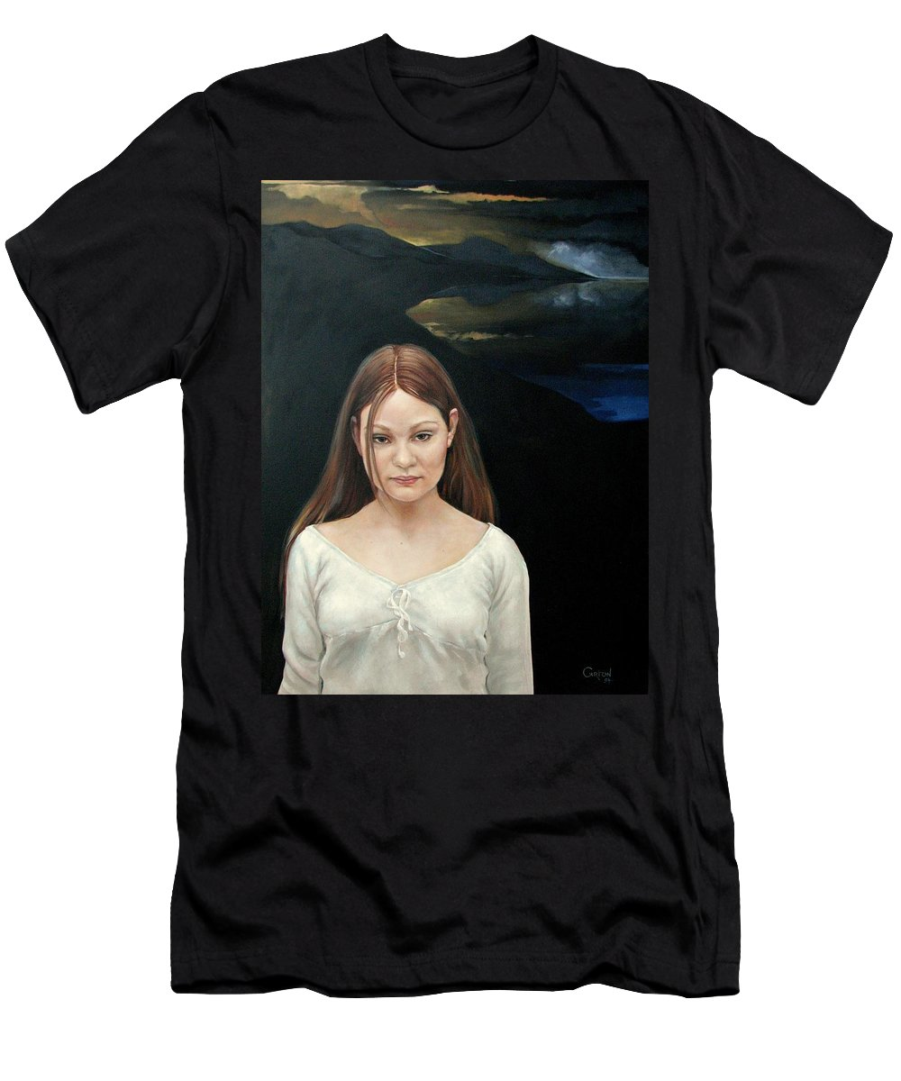 Facial Expressioin Men's T-Shirt (Athletic Fit) featuring the painting Defiant Girl 2004 by Jerrold Carton