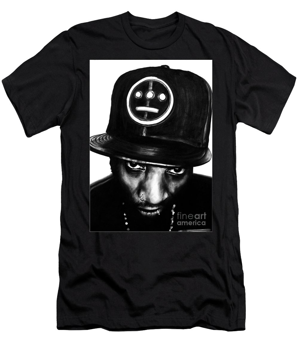brian Curran Men's T-Shirt (Athletic Fit) featuring the drawing Del The Funky Homosapien by Brian Curran
