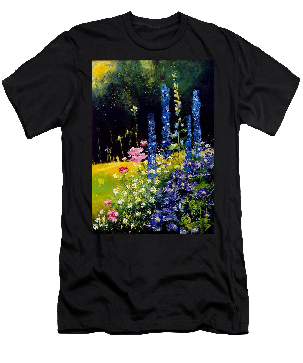 Poppies Men's T-Shirt (Athletic Fit) featuring the painting Delphiniums by Pol Ledent