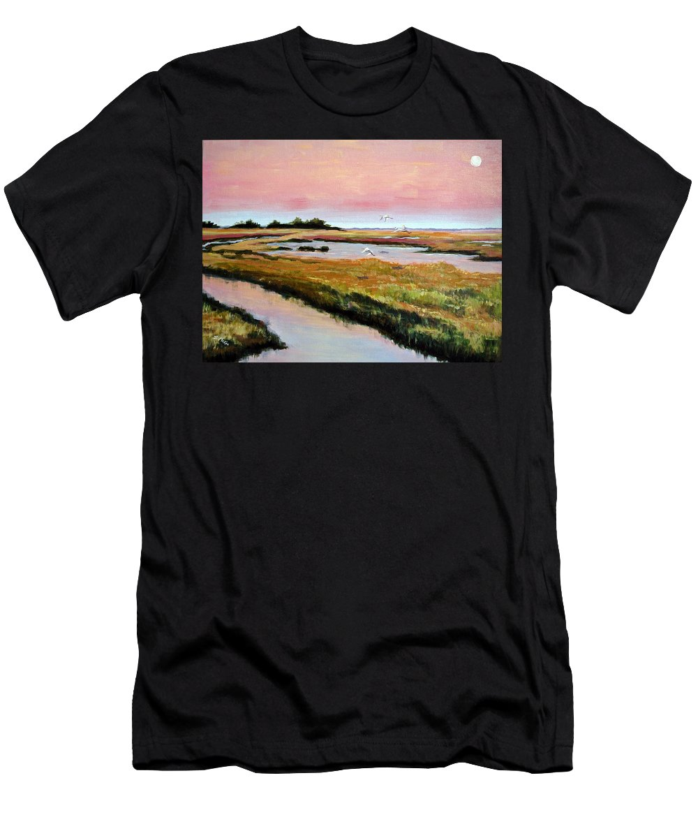 Acrylic Men's T-Shirt (Athletic Fit) featuring the painting Delta Sunrise by Suzanne McKee