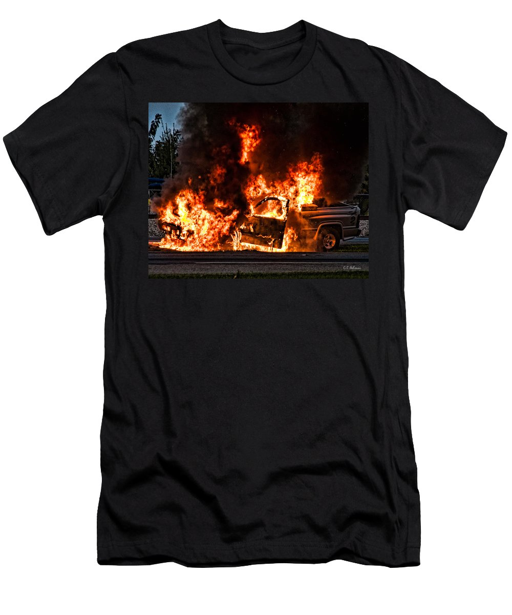 Fire Men's T-Shirt (Athletic Fit) featuring the photograph Demon Released by Christopher Holmes