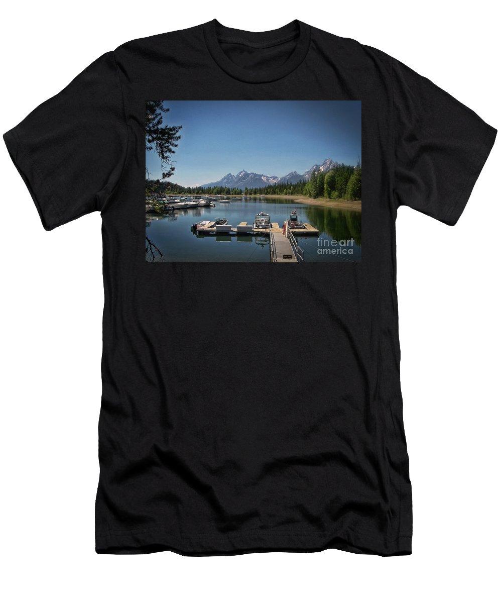Denali Men's T-Shirt (Athletic Fit) featuring the photograph Denali Park Marina by Janice Pariza