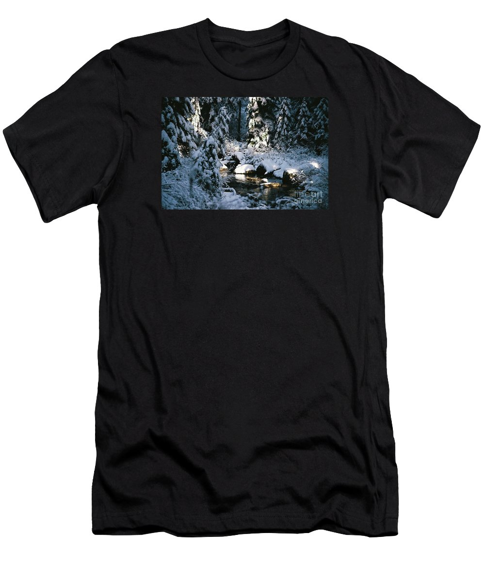 Landscape Men's T-Shirt (Athletic Fit) featuring the photograph Denny Creek by John Huntsman