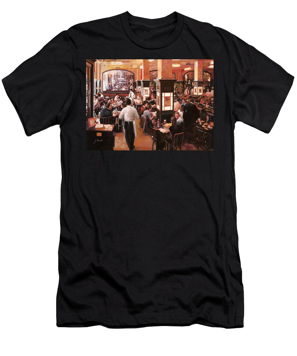 Coffee Shop Men's T-Shirt (Athletic Fit) featuring the painting Dentro Il Caffe by Guido Borelli