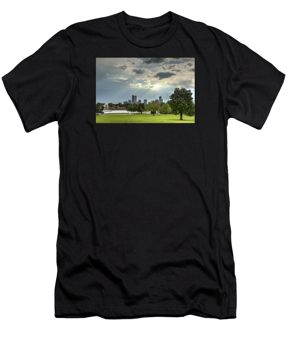 Park Men's T-Shirt (Athletic Fit) featuring the photograph Denver After The Rain by Joan Baker