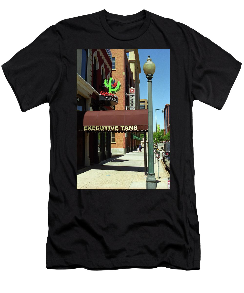 16th Men's T-Shirt (Athletic Fit) featuring the photograph Denver Downtown Storefront by Frank Romeo