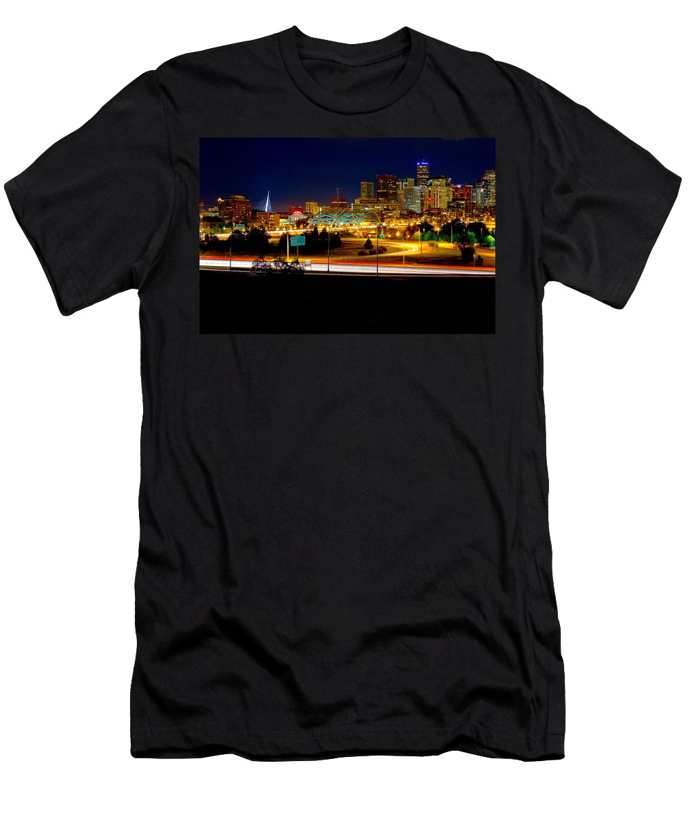 Denver Men's T-Shirt (Athletic Fit) featuring the photograph Denver Night Skyline by James O Thompson