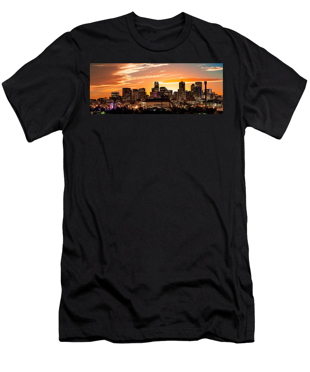 Denver Men's T-Shirt (Athletic Fit) featuring the photograph Denver Sunrise Iv by Jon Blake