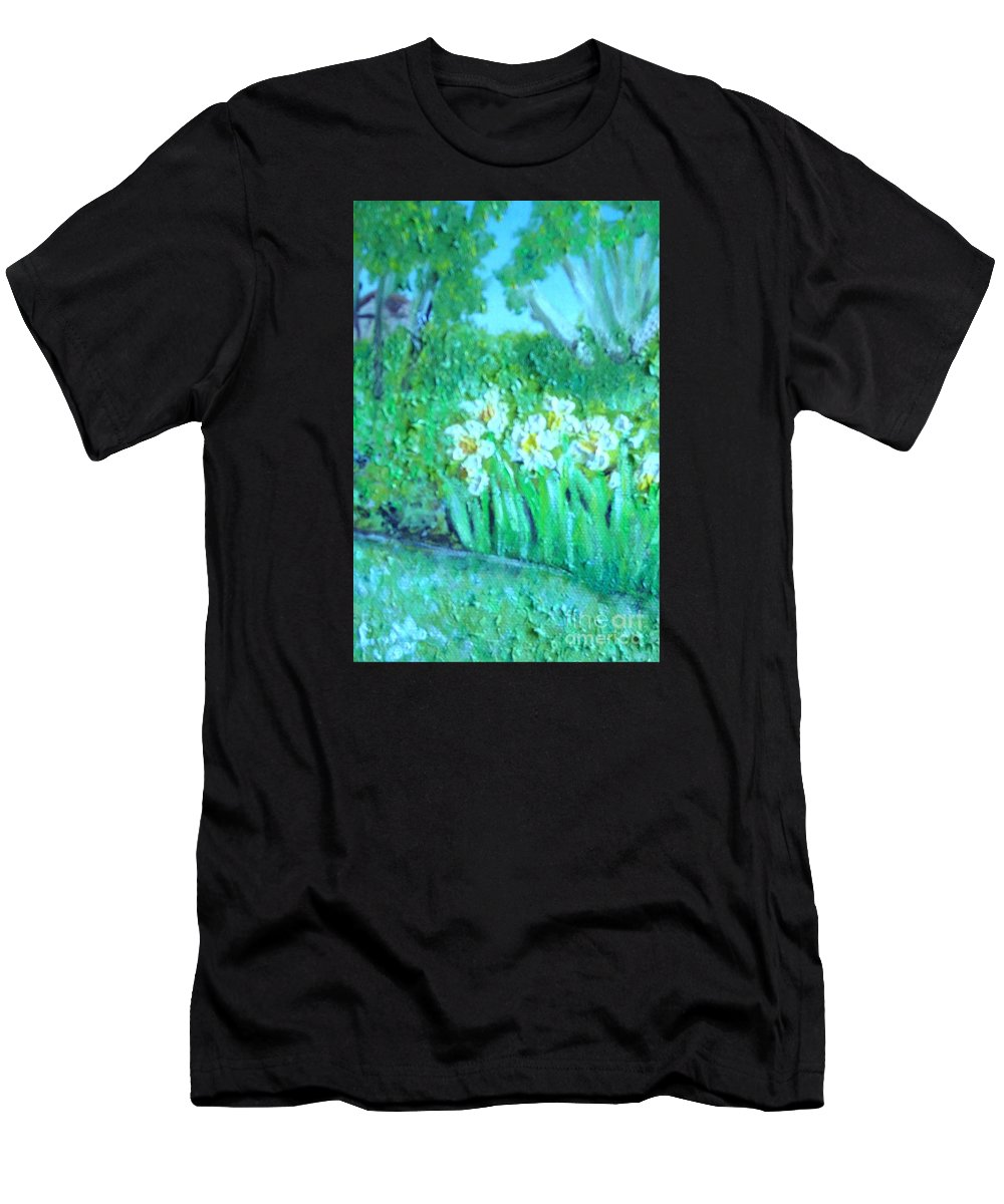 Daffodils Men's T-Shirt (Athletic Fit) featuring the painting Dependable Daffodils by Laurie Morgan