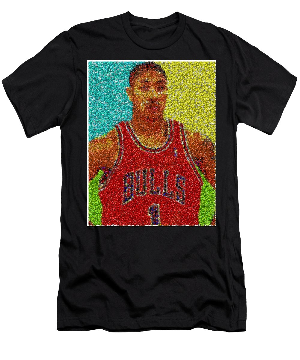 acadde60bf33 Chicago Men s T-Shirt (Athletic Fit) featuring the mixed media Derrick Rose  Skittles
