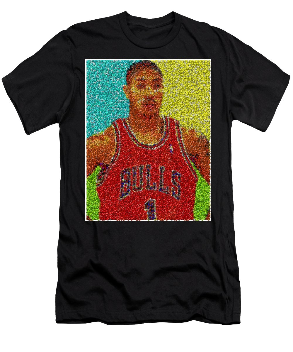 561480d5e642 Chicago Men s T-Shirt (Athletic Fit) featuring the mixed media Derrick Rose  Skittles