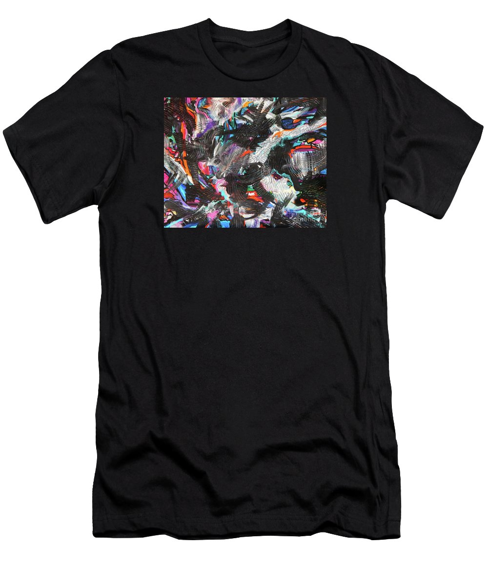 Bright Vibrant Colors Are Popping Out From Behind Delicately But Thoroughly Textured Black And White And Shades Of Gray In Between .love This Piece .a Balanced Beautiful Mess .perfect Expressionist Painting.full Of Drama Men's T-Shirt (Athletic Fit) featuring the painting Dervish And The Rainbow by Expressionistart studio Priscilla Batzell