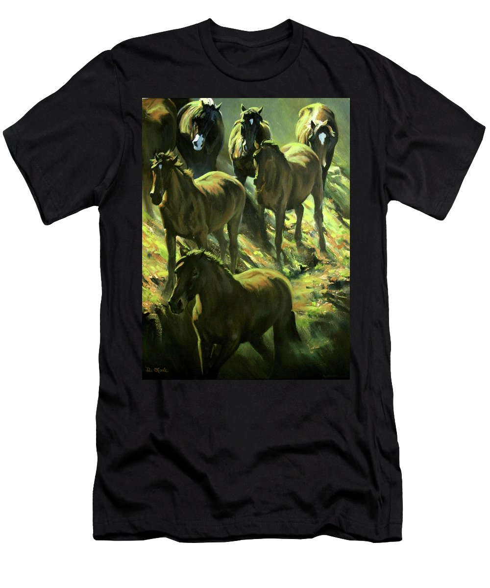 Horses Men's T-Shirt (Athletic Fit) featuring the painting Descent by Mia DeLode
