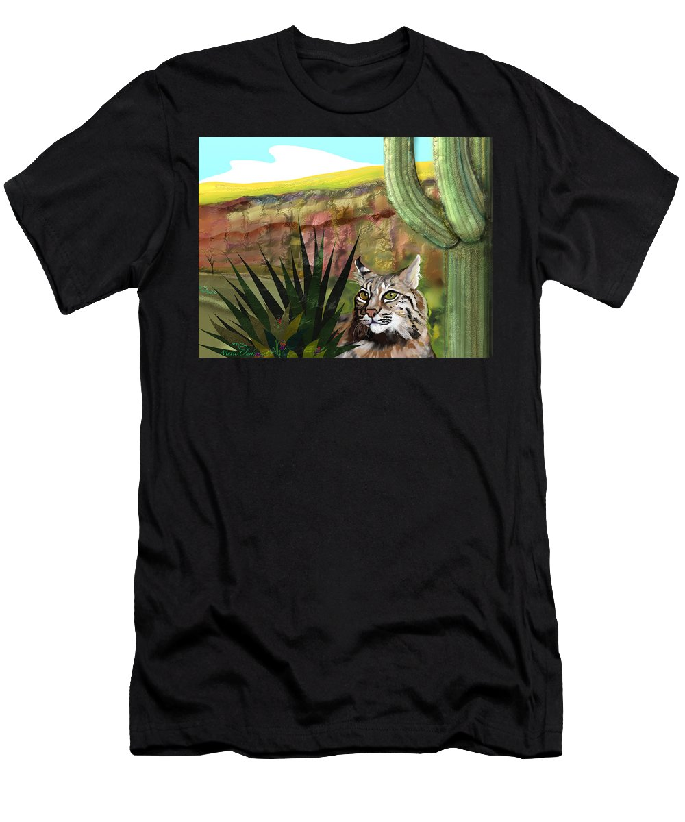 Bobcat Men's T-Shirt (Athletic Fit) featuring the painting Desert Bobcat by Marie Clark
